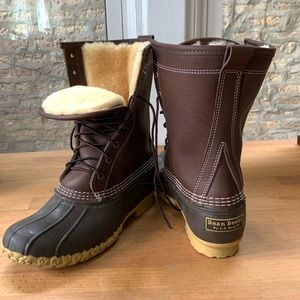 """L.L. Bean Shearling Lined 10"""" Duck Boots NEW"""